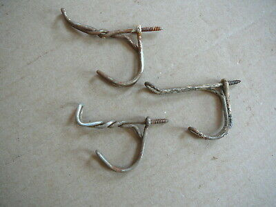 "3 - Antique Salvaged Twisted Wire Coat Room Double Hooks - Farm School 2.5"" Gd"
