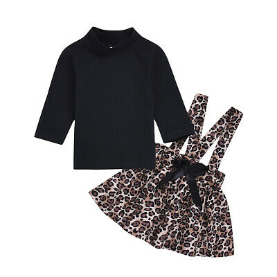 2PCS Toddler Kid Girl Winter Dress Clothes Sweater Tops Leopard Skirt Outfit Set