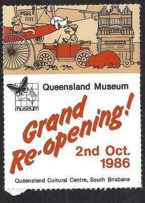 1986 Queensland Museum Grand Re-opening Sticker Cultural Centre Southbank