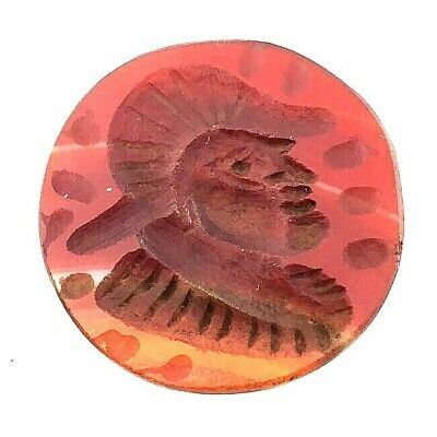 ancient cylinder pendant carnelian roman intaglio seal antique signet king face