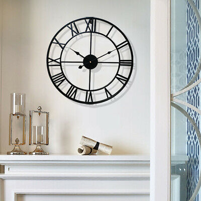 40Cm Large Roman Numerals Skeleton Wall Clock Big Giant Open Face Round