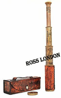 Collectible T.SCOTT LONDON 1753 Brass Antique Style TELESCOPE With Leather Box