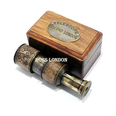 """ROSS LONDON 4"""" Antique TELESCOPE Brass Nautical Dollond London With Wooden Box"""