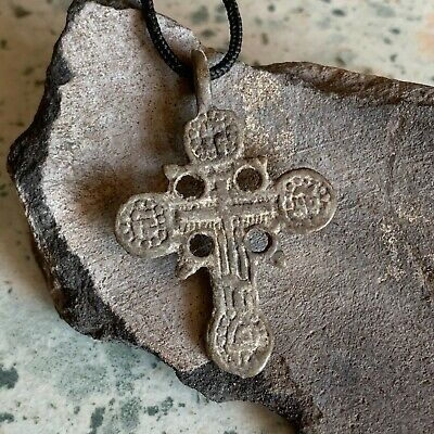 Byzantine Bronze Cross Late Medieval European Russian Orthodox / Pendant