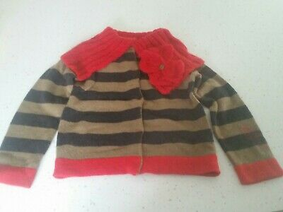 Catimini Girls Age 7  Wool mix Cardigan with removable collar great  condition