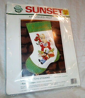 Sunset Christmas Toy Stocking Toyland Treasures Felt Applique Craft Kit 18021