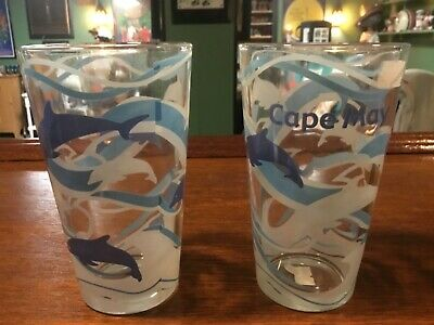 Cape May beer glass pint set 2 dolphins brewery bar NJ beach gift cocktail wine