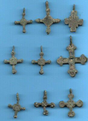 LOT OF 9 Ancient Viking Enamel Bronze Cross Kiev Russia ca 1100 Byzantine 14
