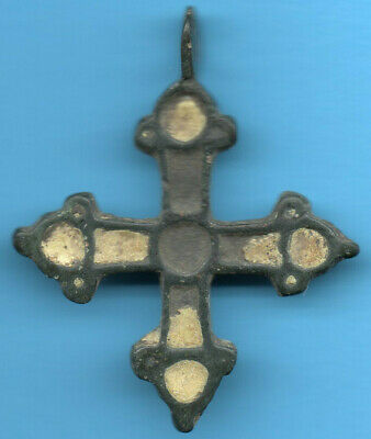 Ancient Viking Enamel Bronze Cross Kiev Russia Ukraine ca 1100 Byzantine 30
