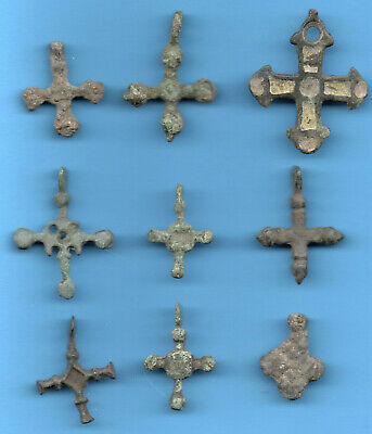 LOT OF 9 Ancient Viking Enamel Bronze Cross Kiev Russia ca 1100 Byzantine 16