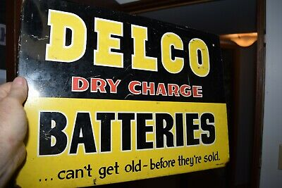 Antique DELCO DRY CELL BATTERY display rack sign chevrolet general motors