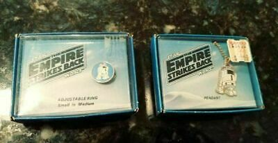 R2-D2 Pendant & Adjustable Ring VTG 1980 Wallace Berrie Star Wars ESB jewelry