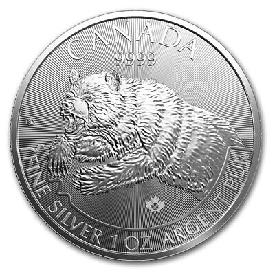 Canada 2019 Bu 1/2 Oz. Silver 9999 Grizzly Bear Predator Series Coin