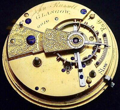 John Russell Glasgow Good Fusee Lever Pocket Watch Movement circa 1845