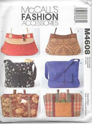 HANDBAGS - 6 Lined Bags. Sewing PATTERN: McCalls Fashion Accessories