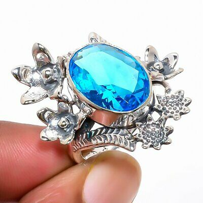 Blue Topaz Hand Crafted Floral Silver Ring 6 (39) TS