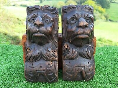 SUPERB Pr 18thc ARCHITECTURAL MAHOGANY WOOD CARVED LION CORBELS C.1780's