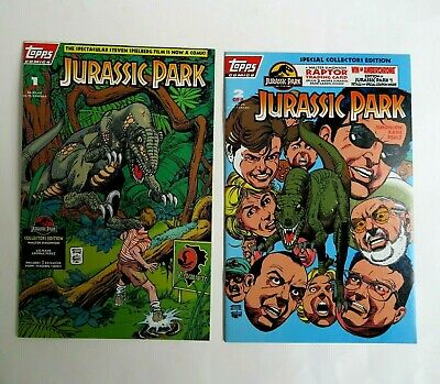 Jurassic Park 1 2 (1993) 1st Print Topps Collector's Edition Spielberg Movie C09