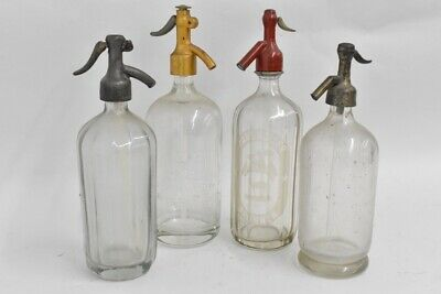 i66b68- 4x alte Siphonflasche, Glas, Metall
