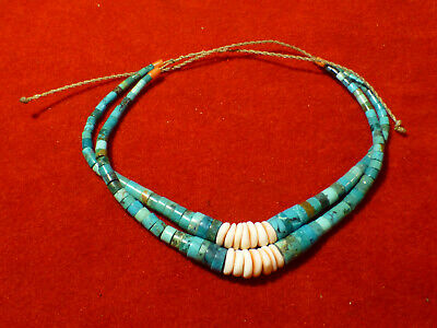 Beautiful Antique Native American Indian Turquoise Shell And Coral Bracelet / An