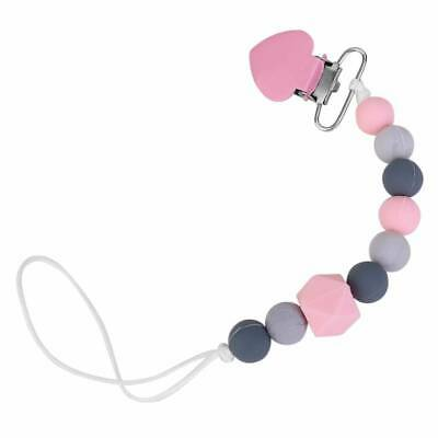 Baby Dummy Clip Holder Pacifier Clips Teething Silicone Beads Soother Chain Pink