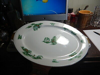 VINTAGE Narumi China Japan MANCHU pattern platter 15 inch  Gold Handles