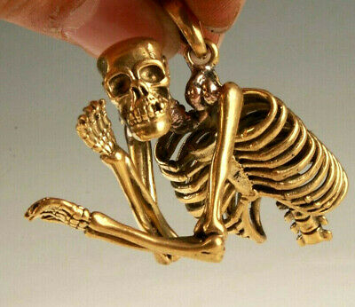 Retro China Brass Pendant Statue Skeleton Mascot Exorcist Collection Gift