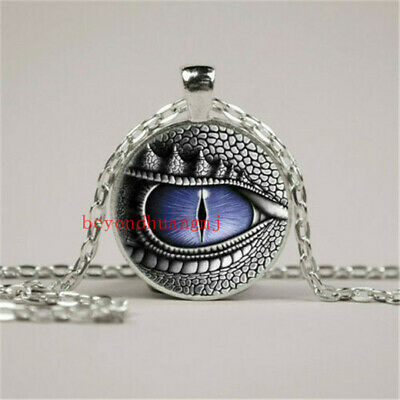 Dragon Eye Photo Tibet Silver Cabochon Glass Pendant Chain Necklace Jewelry NEW