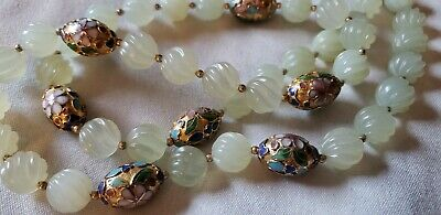 """Chinese Jade Carved Swirl Bead, Enamel Cloisonne Bead Necklace 28"""" 14K Gold Fill"""