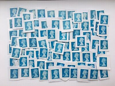 100 X 2nd Class Stamps Security Type Unfranked Job Lot on White Paper