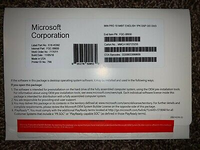 Brand New Microsoft Windows 10 Professional 64 bit dvd w/ product key pro