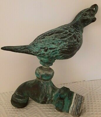 Quail Handle Brass Bronze Water Spigot Faucet Verdigris Finish Vintage Look