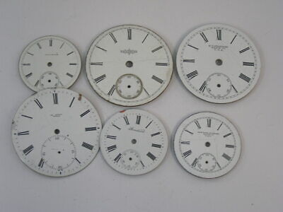 Six Vintage Pocket Watch Dials Variety of Makers