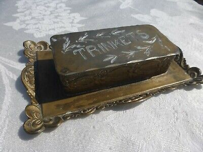 Antique Vintage Victorian Footed Trinket Box ETCHED with the word Very Nice