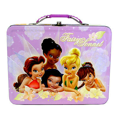 Disney Fairies Tinkerbell Girls Tin Lunch Box Carry All Storage School Case Bag