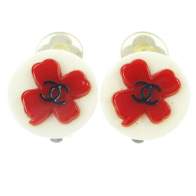 CHANEL CC Logos Clover Motif Earrings White Red Clip-On 04P Accessories AK39394