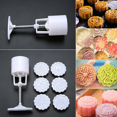 50g 6 Stamps Round Flower Leaf Moon Cake Mold Mooncake Mould Cake Baking Tools