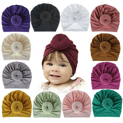 Newborn Baby Boy Girl Cotton Beanie Turban Hat Headband Head Wrap  Cap Headband