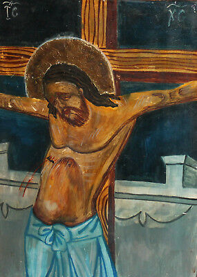 Hand painted tempera/wood icon Crucifixion of Jesus Christ