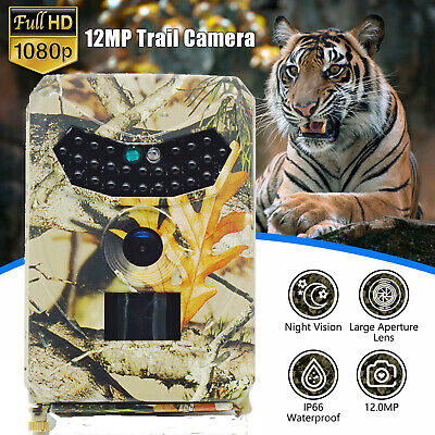 12MP 1080P HD Hunting Trail Camera Video Wildlife Scouting IR Night Vision Cam