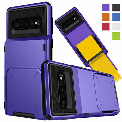 Shockproof Armor Wallet Card Holder Phone Case For Samsung Galaxy S10e S10+ Plus