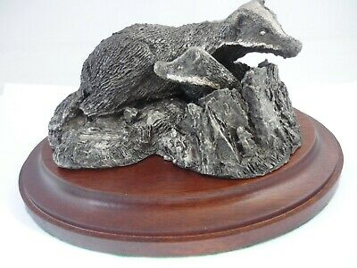 Rare Large Vintage Sterling Silver Badgers Sculpture In Original Box