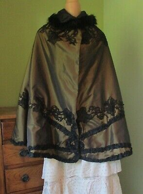Antique Victorian Gold Cape with Ostrich feather collar