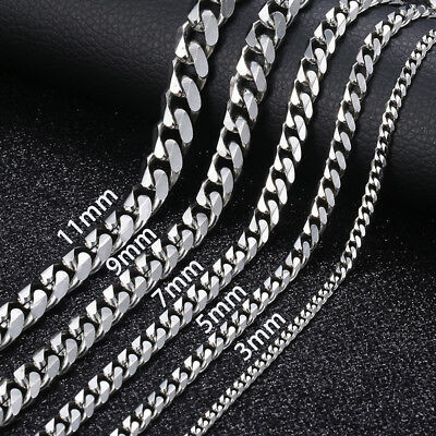 "18""-36"" Stainless Steel Silver Tone Chain Cuban Curb Mens Necklace 3/5/7mm"