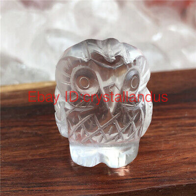 1pc Natural carved quartz crystal skull clear quartz Owl skull stone Healing