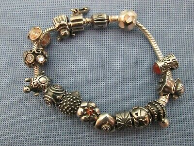 European Charm Bracelet With 925 Silver Charms 63.05grams