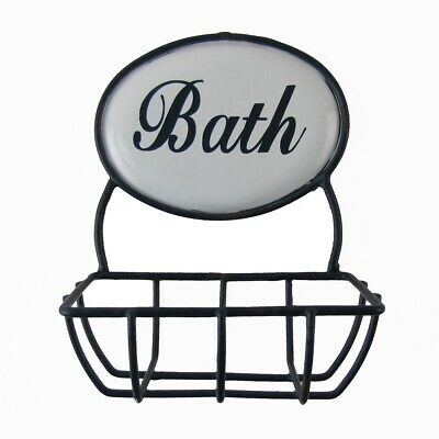 Vintage Enamel Bathroom Sink Soap Bar Dish Rustic Bath Shower Tray Sponge Holder