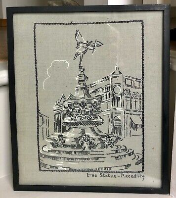 """OOAK Framed Vintage Embroidery/Needlework """"Eros Statue Piccadilly"""" Picture"""