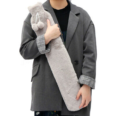 Portable Warmies Extra Long Hot Water Bottle 74cm PVC w/ Fur Removable Cover  !