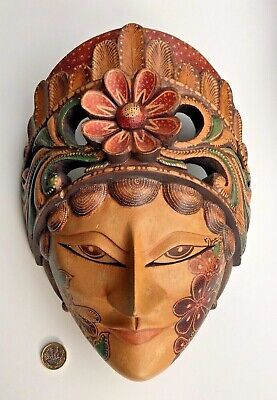 Vintage Indonesian Balinese Wooden Wall Mask Embossed & Painted
